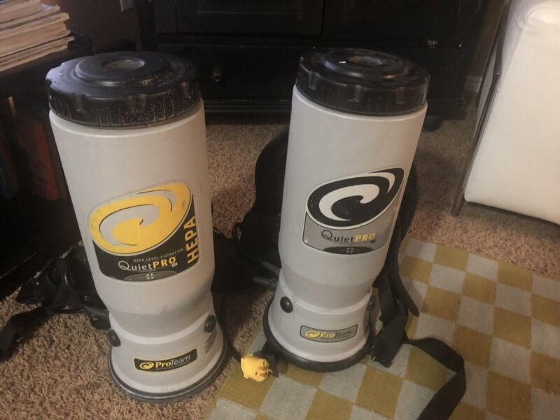 Lot Of 2 ProTeam Motor, Quiet Pro Backpack Model QPB73  Vacuum Cleaners