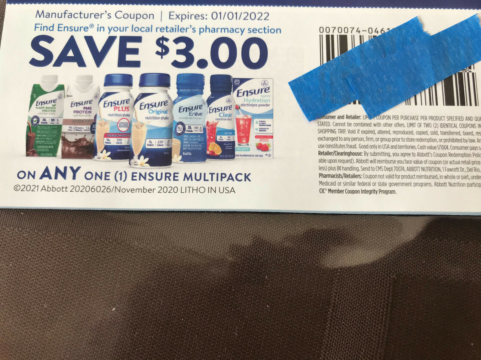 3/1 Ensure Multipack - 10 Coupons - Save 30 - Expiration1/1/2022 - $7.50