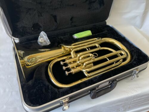 Professional Bb Gold Baritone Horn With Hard Case and Mouthpiece