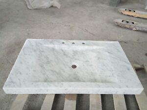 "918CWT 36"" Rectangular Carrara White Marble Vessel Sinks"