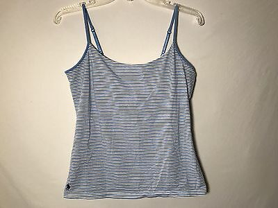 Adj Tank (Ralph Lauren Blue Striped Adj. Strap Tank Top w/ Built in Support WOMENs L Large)