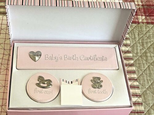 First Impressions Pink Girl Newborn 4-piece Leather Keepsake Set