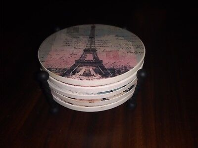 Scenes of Paris Set of 5 Round Coasters with Metal Holder New