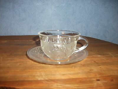 Vtg. Sandwich Pattern Cup and Saucer by Anchor Hocking- 21 Sets Available