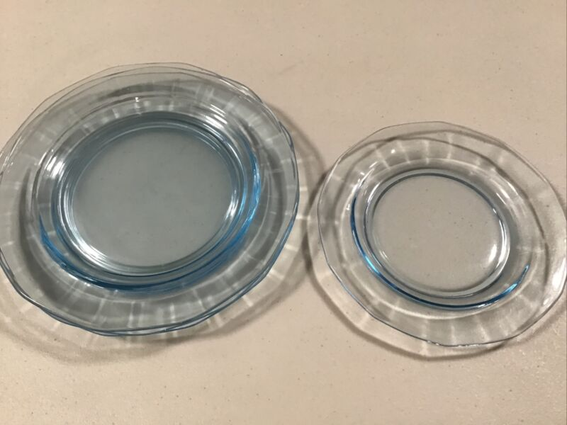 "Vtg Fostoria Fairfax Set Of 4 Azure Blue 7 1/2"" Salad Plates  6"" Bread & Butter"