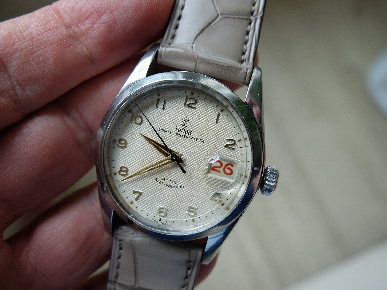 Rare Large Vintage Rolex Tudor ref. 7914 Watch with Original Mint Guilloche Dial - watch picture 1
