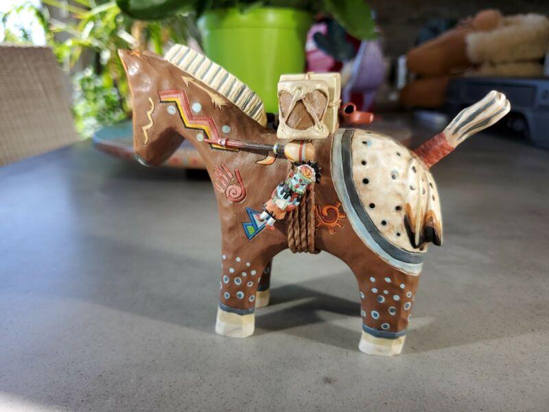 Robert Shields Story Teller Horse Sculpture Polychrome Beautiful Details, RARE
