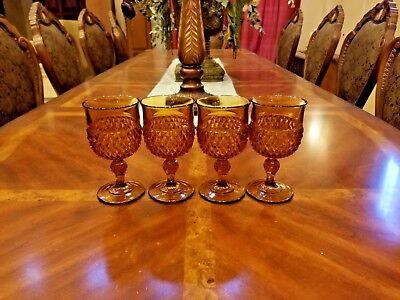 "Vintage 4 Indiana Amber Glass Diamond Point Goblet 6 1/2 "" Mid Century 1960's"
