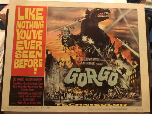 "Gorgo 1961 MGM 11x14"" title horror lobby card Bill Travers Gorgo"