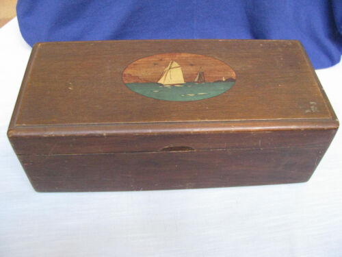 Antique Sailors Wood Box Letter Writing Maps Charts HP Nautical FolkArt Sailboat