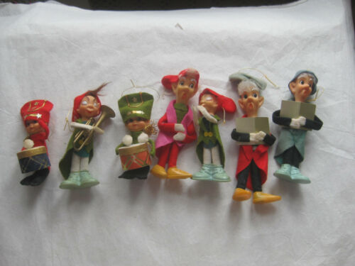 Lot  7 Vintage All New Material Japan1968 Delta Novelty Elfs Christmas Ornament