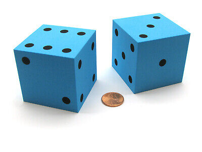 Large Foam Dice (Pack of 2 Jumbo Large 50mm (2 Inches) Foam Dice - Blue with Black)