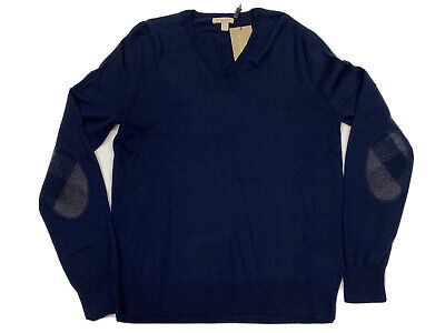 $295 BURBERRY BRIT check elbow patch wool DOCKLEY sweater pullover NAVY NWT M