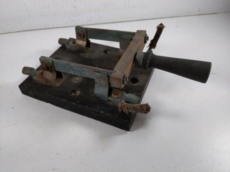 Antique Vtg 6x5 Knife Switch Double Throw Slate Frankenstein Type Manhattan Elec