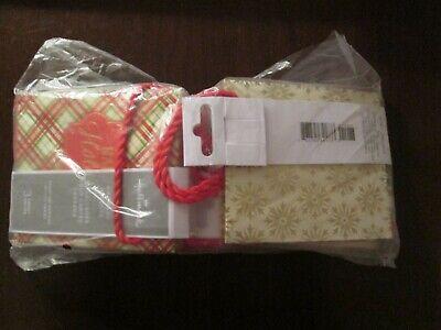 12 Hallmark Small Christmas Gift Bags Tartan Plaid Star Snow