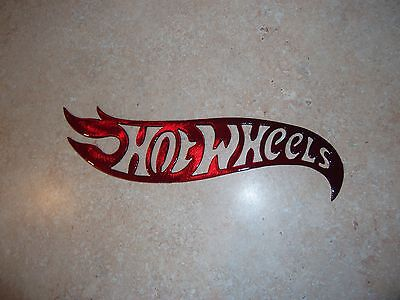 "Large 12"" Gloss Kandy Red Painted Late style Metal Hot Wheels ManCave Wall Decor"