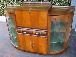 Old retro antique vintage art deco leadlight bar drinks cabinet Beaumaris Bayside Area Preview