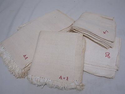 6 ANTIQUE HOME SPUN LINEN KITCHEN DISH TOWELS HAND TOWELS w EMBROIDERED INITIALS