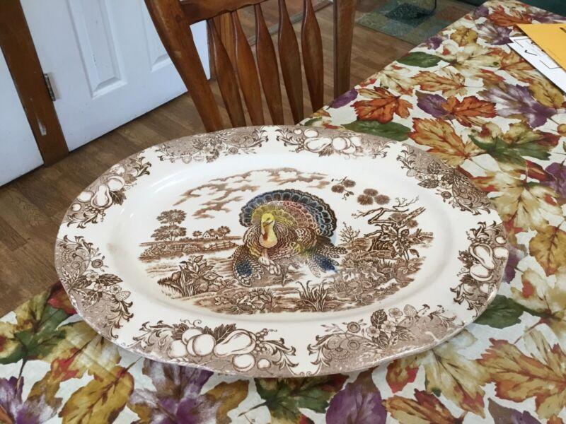 Vintage Large Turkey Platter Thanksgiving Brown White Porcelain