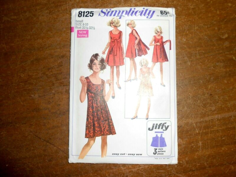 1969 Simplicity Sewing Pattern 8125 Misses Jiffy Reversible Dress Size 8-10
