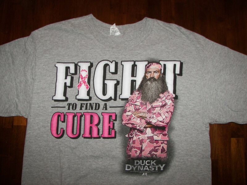 Duck Dynasty Fight To Find A Cure Breast Cancer Heather Gray Tshirt Size Large