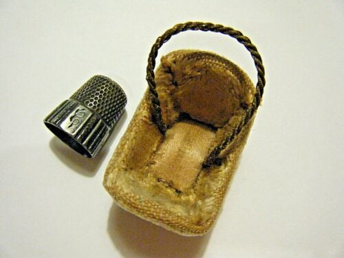 1890 Victorian Sterling Silver Thimble and Plush Velvet Fairy Case Basket