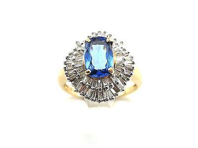 14 K YELLOW AND WHITE GOLD DIAMOND TANZANITE RING SIZE 7 1.95 carats