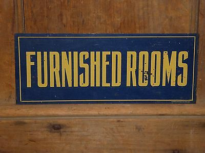 OLD ORIGINAL HOTEL BOARDING HOUSE FURNISHED ROOMS METAL SIGN VINTAGE ANTIQUE