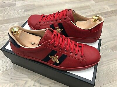 Genuine Gucci Ace Bee Red Leather Sneakers/Trainers UK13 EU47 US14 (Rare Size)