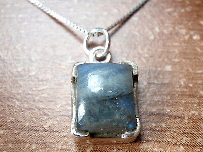 Labradorite Four-Pronged Rectangle 925 Sterling Silver Pendant Corona Sun