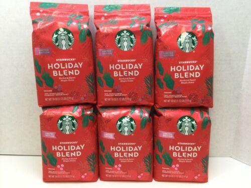 Starbucks Holiday Blend Ground Coffee, Medium Roast, 18 oz Bag, CASE OF 6