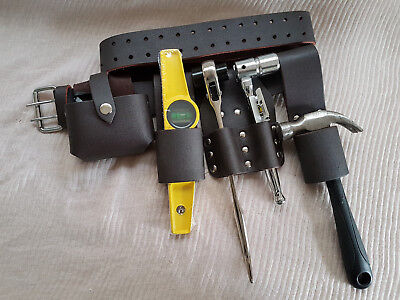 New Scaffolding Brown Leather Tools Belt 5in1 Tape Level Spanners Hammer Holder