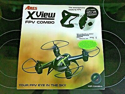 AZSQ3300 Ares XView FPV RTF Mini Electrifying Quadcopter Drone w/ Headset Great Cond