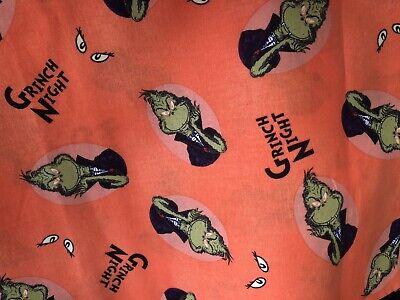 "Grinch Dr Seuss Fabric 1/4 Yd 9""x43 100% Cotton Orange Halloween Green Eyes"