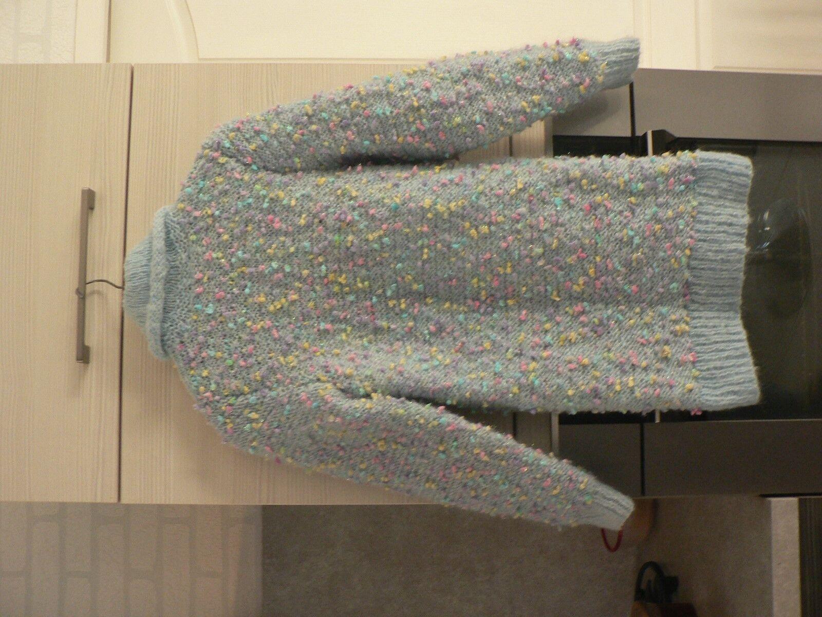 pull  mohair tricot  taille 38 / 40 bleu ciel   femme neuf fait main