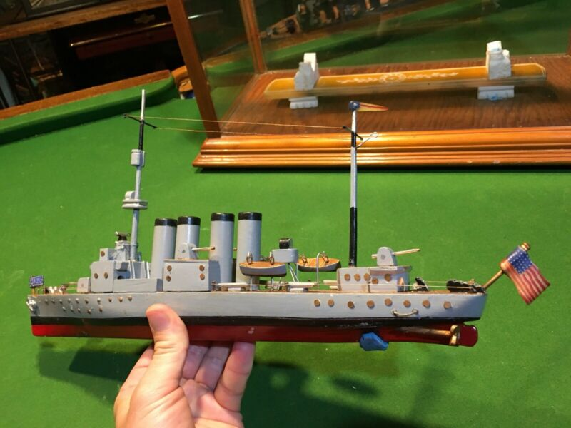 RARE ANTIQUE FOUR STACKER WW1 DESTROYER CARVED ALABASTER STONE SHIP MODEL c1918