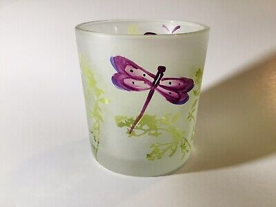 Yankee Candle Votive Holder (2011) White With Purple Butterfly/Purple Dragonfly