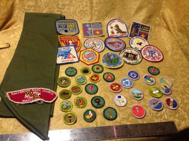 Vintage Boy Scout Sash with Patches and 29 Merit Badges Baltimore Area