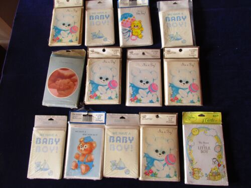 Lot Vintage 112 Baby Boy Birth Announcement Cards 1960