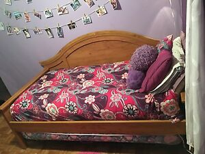 Single Wooden Bed Frame with Pop-Up Bed Underneath