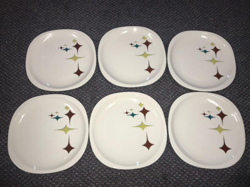 """Lot Of Six 7 5/8"""" Syracuse Jubilee Starburst Salad Plates Atomic Mid Century GUC"""