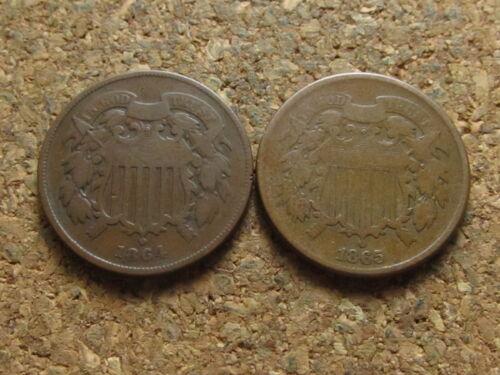 1864 1865 Two Cent Pieces - Civil War Era