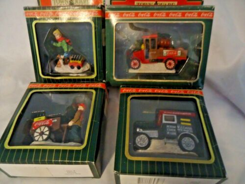 Vintage Lot of 4 Coca-Cola Town Square Collection 2 Vehicles - 2 Figurines ~ NIB