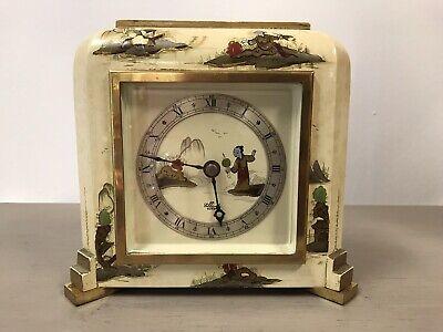 Stunning Chinoiserie Cream Lacquered Elliott Mantel Bracket Clock Working.