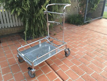 Huge flat bed platform aluminium and chrome steel trolley