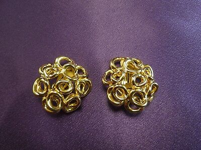 Guy Laroche Vintage Clip On Earrings Goldtone Circles Design Fashion Jewelry