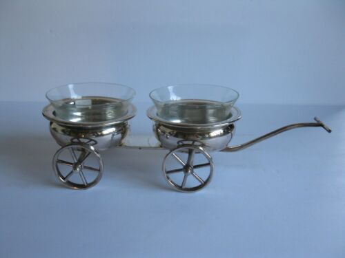 F.B.ROGERS SILVERPLATE WINE COASTER TROLLY WITH GLASS INSERTS