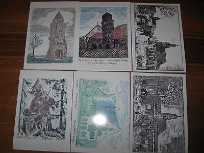 6 Stück AK Künstlerkarten Kunst Postkarten Ansichtskarten E. Aulitzky