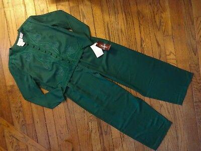New! Vintage Karin Stevens Green Pant Suit      Size 16       $100.00