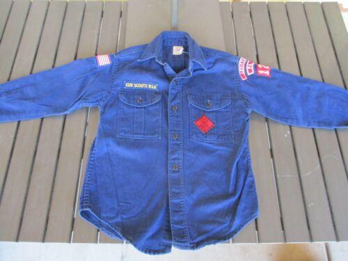 Vtg 60s Cub Scouts, Levittown PA Blue Cotton Shirt with Patches, Boy Scouts BSA